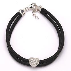 Herz Armband aus Leder und Herzförmiger Anhänger aus rhodiniertem Silber