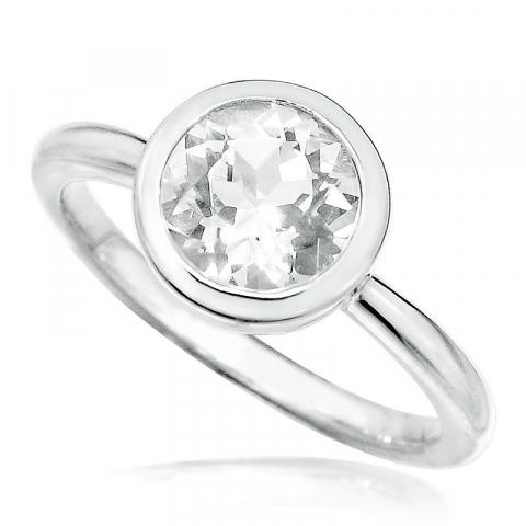 Polierter runder Zirkon Ring aus Silber
