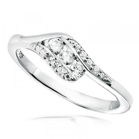Schöner weißem zirkon ring aus silber