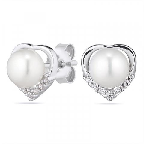 Perle Herzohrringe in rhodiniertem Silber