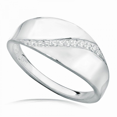 Schöner weißem zirkon ring aus rhodiniertem silber