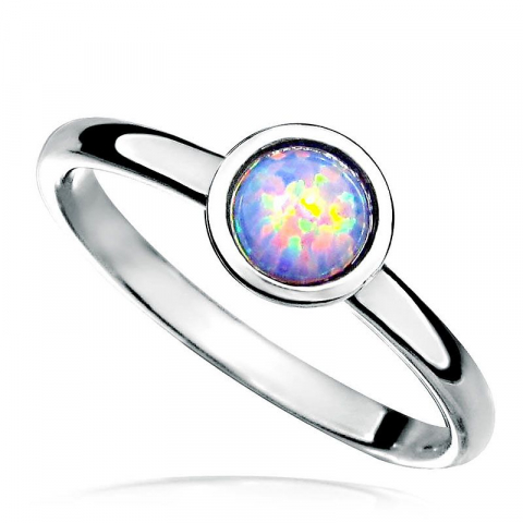 Runder mehrfarbigem künstliche opal ring aus rhodiniertem silber