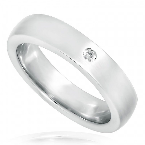 Breit weißem zirkon ring aus rhodiniertem silber