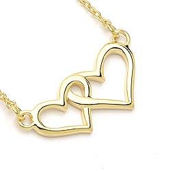 Schön Herz Halskette aus vergoldetem Sterlingsilber