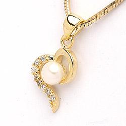 Perle Herzförmiger Anhänger aus vergoldetem Sterlingsilber