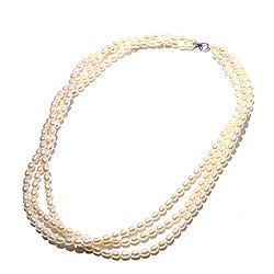 Weißem 3-reihige Perlenhalskette mit Süßwasserperle.