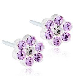 Schöne Blomdahl Blume Ohrringe in Kunststoff violetten Swarovski-Kristalle weißen Swarovski-Kristalle