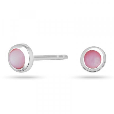 Nordahl andersen runder ohrringe in rhodiniertem silber rosa schmucksteine