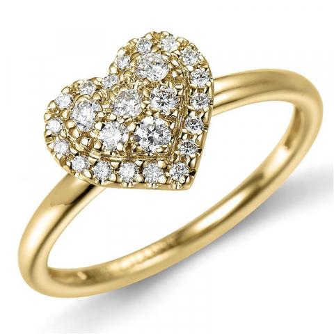 Herz diamantring in 14 karat gold 0,22 ct