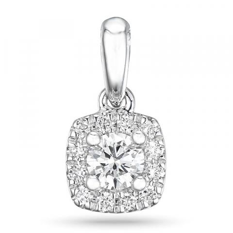 Viereckigem diamant anhänger in 14 karat weißgold 0,22 ct