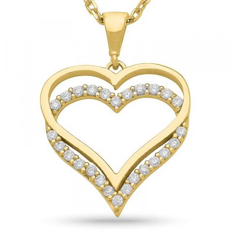 Herz Halskette aus vergoldetem Sterlingsilber und Herzförmiger Anhänger aus 9 Karat Gold