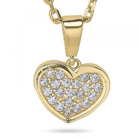 Herz halskette aus vergoldetem sterlingsilber und anhänger aus 9 karat gold