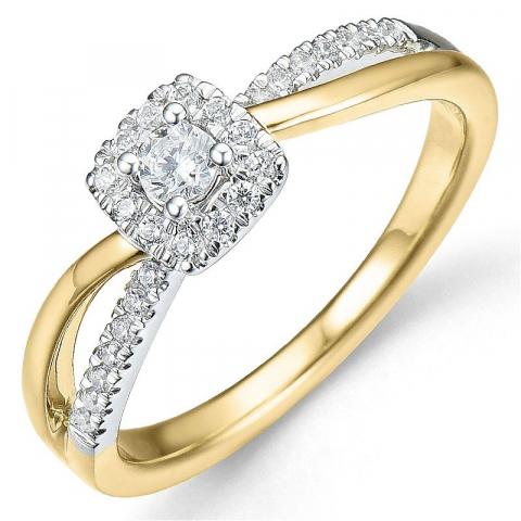 Bestellware - diamantring in 14 karat gold- und weißgold 0,10 ct 0,25 ct