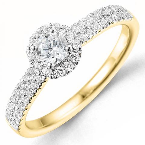 Bestellware - diamantring in 14 karat gold- und weißgold 0,26 ct 0,29 ct