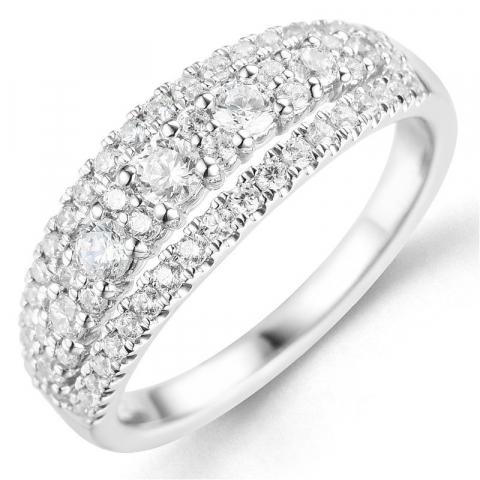 Bestellware - diamantring in 14 karat weißgold 0,75 ct
