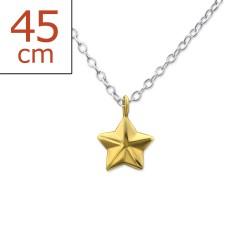 Stern Halskette aus Silber und Stern aus vergoldetem Sterlingsilber