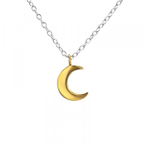 Mond Halskette aus Silber und Anhänger aus vergoldetem Sterlingsilber