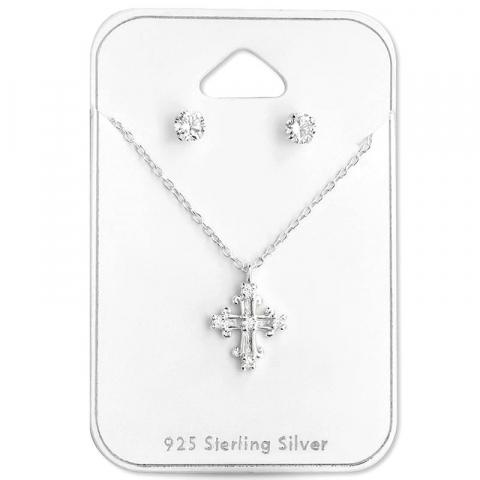 Kreuz Set mit Ohrringe und Halskette in Silber