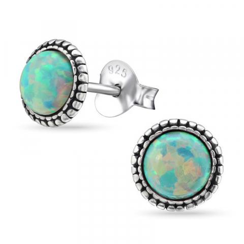 Runden Opal Ohrringe in oxidiertem Sterlingsilber