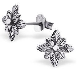 Eleganten Blumen Ohrringe in Silber