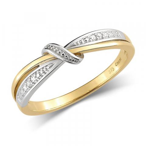 Fein weißem Zirkon Gold Ring aus 9 Karat Gold mit Rhodium