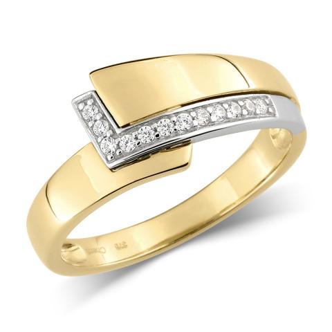 Goldring Ring aus 9 Karat Gold und Weißgold