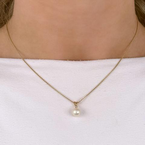 Perle Anhänger in 14 karat Gold 0,02 ct