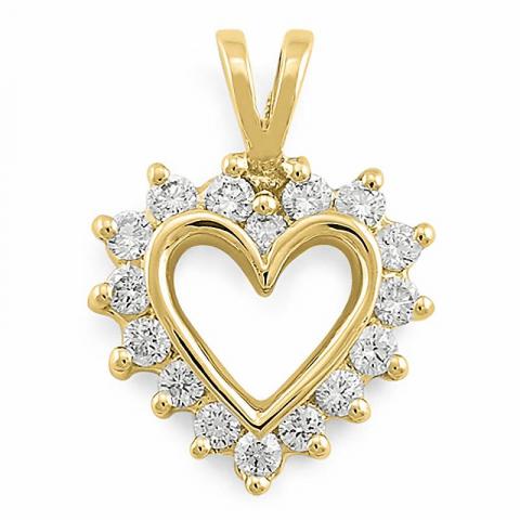 Herzförmiger Anhänger in 14 karat Gold 0,25 ct