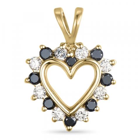 eleganter Diamant Herzförmiger Anhänger in 14 karat Gold 0,13 ct 0,12 ct