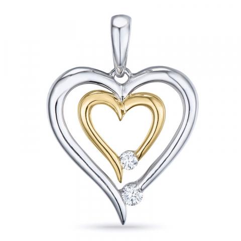 Süßer Diamant Anhänger in 14 karat Gold- und Weißgold 0,07 ct