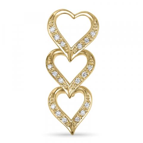 Diamant Herzförmiger Anhänger in 14 karat Gold 0,10 ct