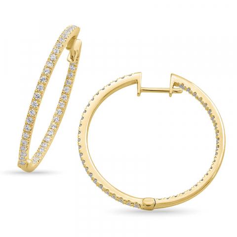 exklusiven 28 mm Diamant Kreole in 14 Karat Gold mit Diamant