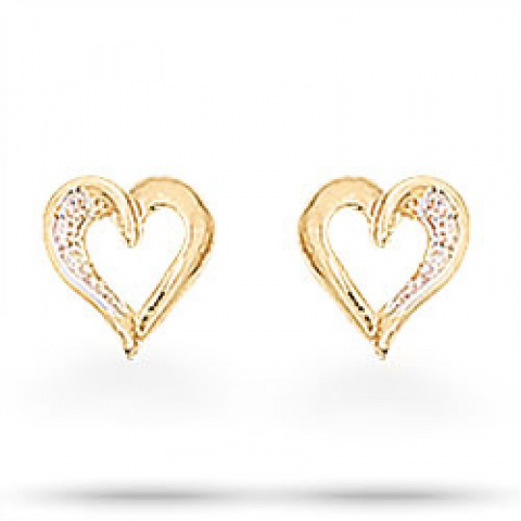 Schönen Scrouples Herz Ohrringe in vergoldetem Sterlingsilber weißen Zirkonen