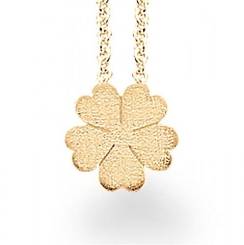 Eleganter Scrouples Blume Anhänger mit Halskette in vergoldetem Sterlingsilber