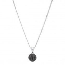 Frost by Noa Halskette mit Anhänger in rhodiniertem Silber schwarzem Zirkon