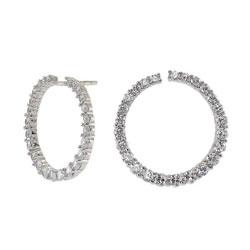 Polierten Frost by Noa runden Ohrringe in Silber weißem Zirkon
