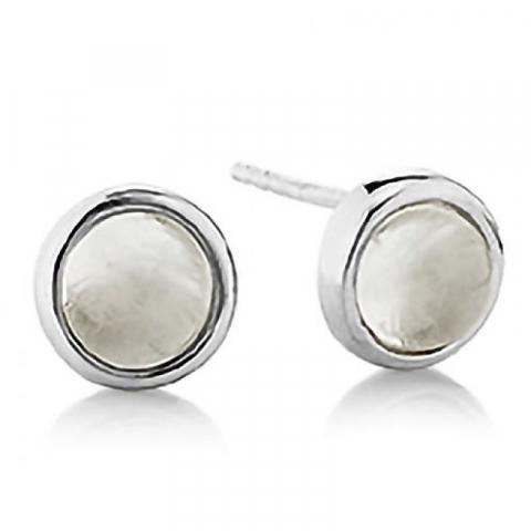 Lieben Aagaard runden Mondstein Ohrringe in Silber weißen Mondsteinen