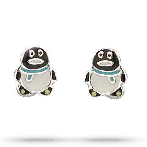 Feinen Aagaard Pinguin Ohrringe in Silber mehrfarbigem Emaille