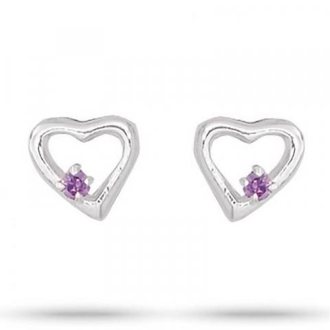 Schöne Aagaard Herz violettem Zirkon Ohrringe in Silber violetten Zirkonen