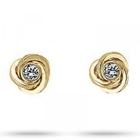 Elegante Aagaard Knoten Zirkon Ohrringe in 8 Karat Gold weißen Zirkonen