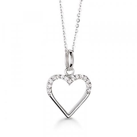 Klassisch Aagaard Herz Anhänger mit Halskette in Silber weißem Zirkon