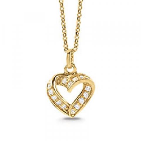 Schöner Aagaard Herz Anhänger mit Halskette in vergoldetem Sterlingsilber weißem Zirkon