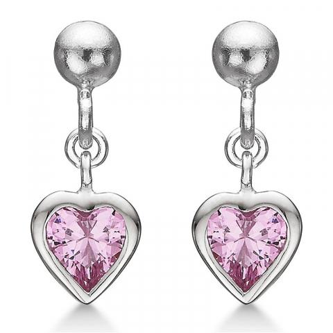 feinen Støvring Design Herz Ohrringe in Silber rosa Zirkon