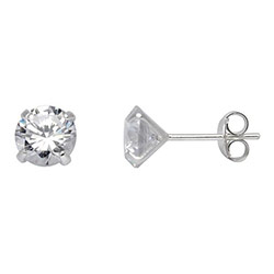 7 mm Støvring Design Ohrringe in Silber weißen Zirkonen