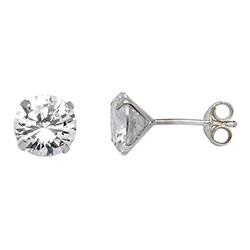 8 mm Støvring Design Ohrringe in Silber weißen Zirkonen