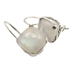 Lieben viereckigem weißen Mondstein Ohrringe in Silber