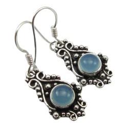 Hängenden abstraktem blauem Ohrringe in oxidiertem Sterlingsilber