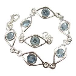 Viereckigem blauem Topas Armband aus Silber