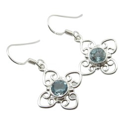 Blauem Topas Ohrringe in Silber