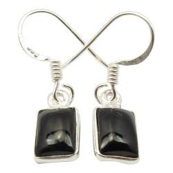 Viereckigem schwarzem Onyxe Ohrringe in Silber